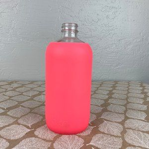 bkr Glass Water Bottle 500mL 16oz Neon Pink Sleeve
